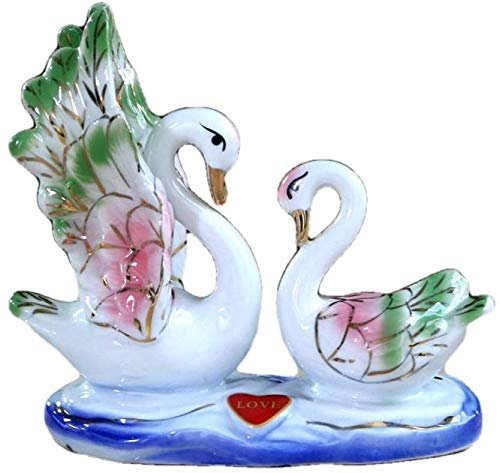 JLXQL Sculptures for Home Artwork Ornament Couple Swan Household Ceramic Swan Lover Statue Animal Decor Gift