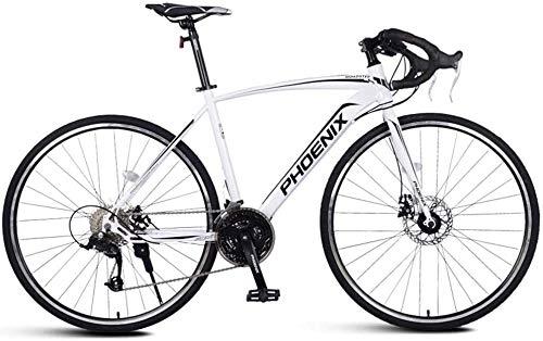 XinQing-Bicicleta Adulto Bicicleta de Carretera, Hombres Bicicleta de Carreras con Doble Freno de Disco, Marco de Acero de Carbono de Alta Camino de la Bicicleta, Ciudad de Utilidad Bicicletas