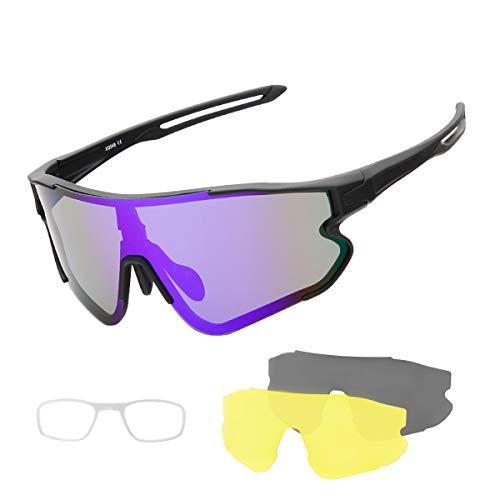 SUUKAA Ciclismo Gafas CE Certificación Polarizadas con 3 Lentes Intercambiables UV 400 Gafas,Corriendo,Moto MTB Bicicleta Montaña,Camping y Actividades al Aire Libre para Hombres y Mujeres TR-90