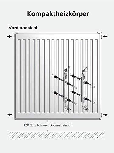 Buderus Kompaktheizkörper Typ 22 Höhe 600 x Länge 1200 mit Halter und Stopfen