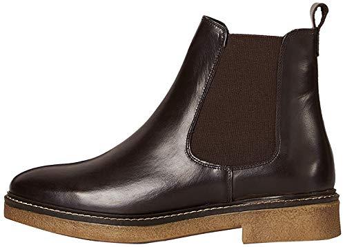 Marca Amazon - find. Leather Gumsole Botas Chelsea, Marrón Chocolate, 40 EU