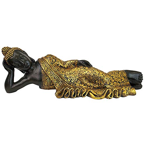 Design Toscano The Golden Kiss Reclining Buddha Statue, 32.5 Inches, Two Tone Black & Gold