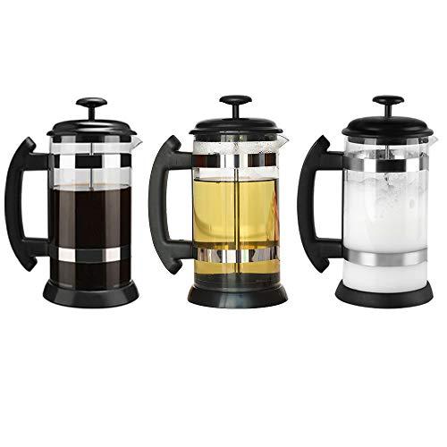i Cafilas French Press ,Cafetera de Cristal con Filtro a presión, Sistema French Press, para café Tetera cafetera, 8 Tazas, 1 L