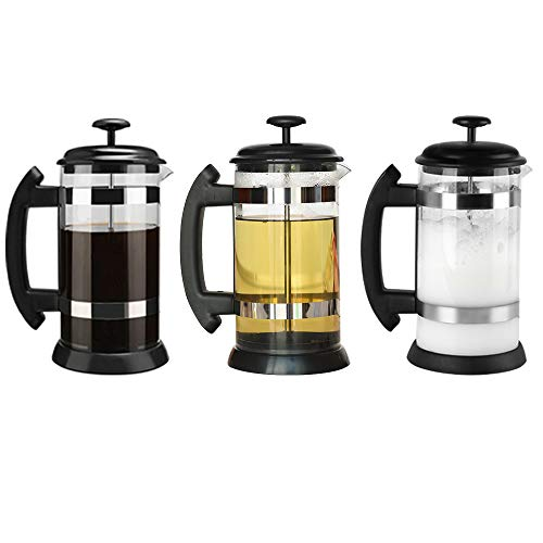 i Cafilas French Press ,Cafetera de Cristal con Filtro a presión, Sistema French Press, para café Tetera cafetera, 8 Tazas, 1 L