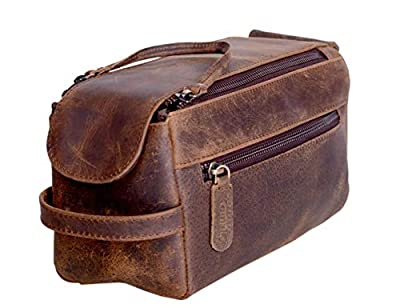 KOMALC Genuine Buffalo Leather Unisex Toiletry Bag Travel Dopp Kit (Distressed Tan)