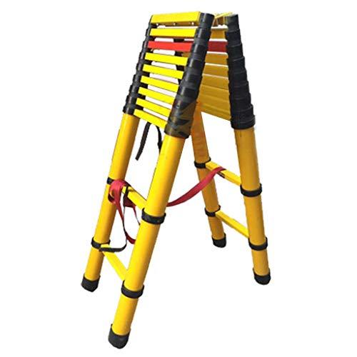 Escalera extensible Escalera telescópica Escalera telescópica de fibra de vidrio 2 M / 3 M - Escalera tipo loft para escalada para trabajo pesado en exteriores con protección para los dedos, no conduc