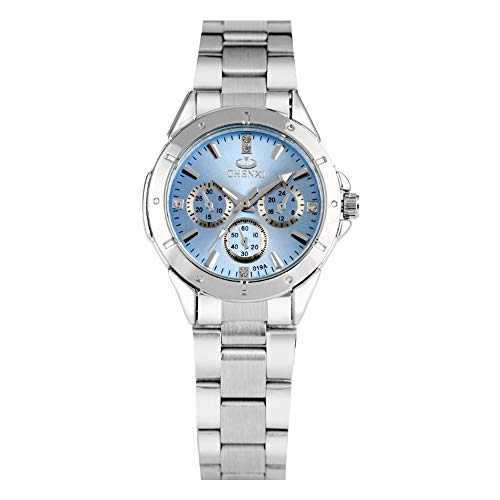 CHENXI - Reloj de pulsera para mujer, esfera azul con punteros de...