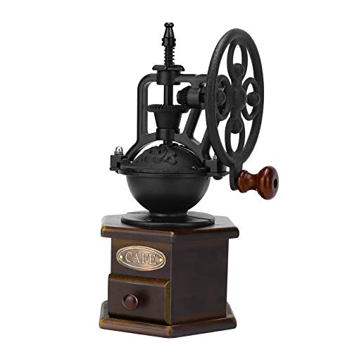 Manual Coffee Grinder, IMAVO Wooden Coffee Bean Grinder Manual Coffee Grinder Roller, Antique Coffee Mill with Cast Iron Hand Crank for Making Mesh Coffee, Decoration, Best Gift