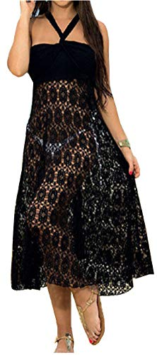 Santwo - Vestido de baño para mujer con encaje y falda de ganchillo Negro Modelo 3 Negro XX-Large