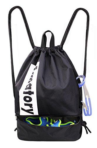 Gym Drawstring Backpack String Bag Men Women Workout Dance Sack Pack Sackpack (2 Layer Black)