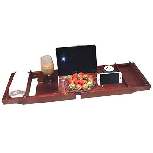 YANXS Bandeja de Bambú Natural para Bañera con Soporte para Taza Copa de Vino Tablet Libro y Móvil Brazos Ajustables Soporte Organizador Lateral Extraíble para Accesorios de Baño (75-109),Red Wine