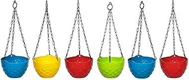 TRUPHE Plastic Hanging Pot, Multicolour, 8 in, 6 Pieces