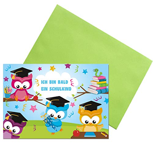 KREATIVES HERZ Einladungskarten zur Einschulung Schulanfang EULEN Einladungen (A6) für Jungen und Mädchen (10 Karten + farbige Umschläge)