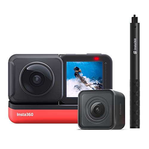 Insta360 ONE R Twin Edition Dual Lenses Sports Action Camera Supports FlowState Stabilization Hyperlapse Voice Control Slow Motion Night Shot HDR Photo Video + Insta360 Invisible Selfie Stick