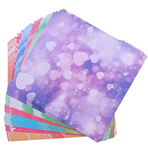 TOYANDONA 100 unidades de papel para origami con flores de cerezo, doble cara, cuadrado, papel de manualidades para principiantes, 15 x 15 cm (burbujas fantasma)