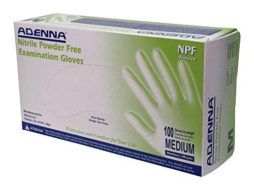 Adenna NPF 5.5 mil Nitrile Powder Free Exam Gloves (Blue, Medium) Box of 100