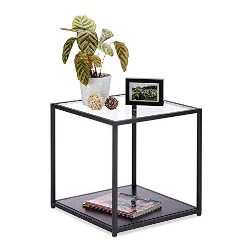Relaxdays, zwarte bijzettafel glas + houten plank, metalen frame, robuust, vierkant, platte salontafel h x b 50 x 50 cm, standaard