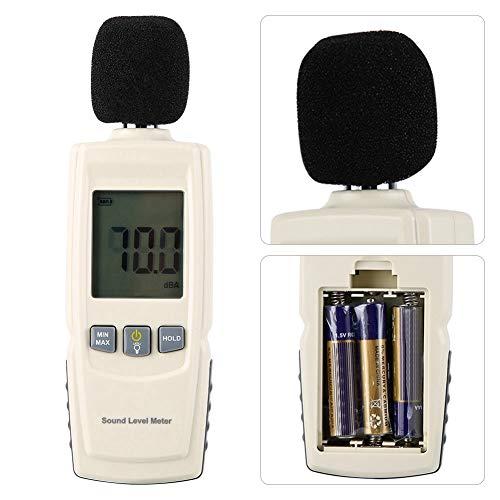 Qinlorgo Digitales Geräuschmessgerät, LCD-Dezibel-Geräuschmessdetektor Digitaler Schalldruckpegeltester Alarm 30-130dba
