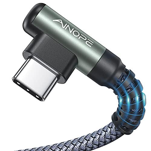 2 Stück USB C Kabel 3.1A Schnellladung, AINOPE [2M+2M] Ladekabel USB C Winkel, Haltbares Nylon Geflochtenes USB A zu USB C Ladekabel für Samsung S20 S9 S8 Plus S10 Note 10 9 8 V30 V20 G6