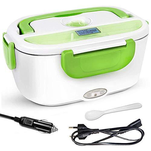 AYANSE 24V 12V 220V 3 en 1 Fiambrera electrica - Recipiente extraíble de acero inoxidable, adecuado para camping, oficina, escuela - Disponible en multicolor (Verde)