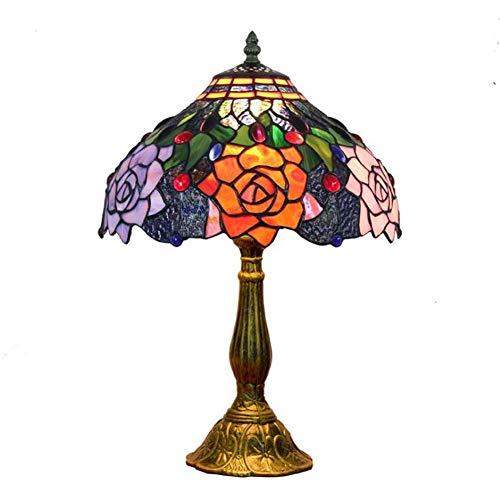 Siunwdiy Tiffany Lampen Tischlampe Vintage 12 Zoll Pastoralen WunderschöNe Blumen Glasmalerei Stil Tischlampe Schlafzimmer Lampe Nachttischlampe,Gold