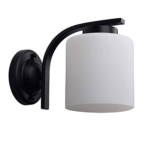 DLINMEI E27 Américain Rétro Personnalité Applique Fer Forgé En Verre Simple Tête Mur Lumière Chambre Étude Mur Applique Noir