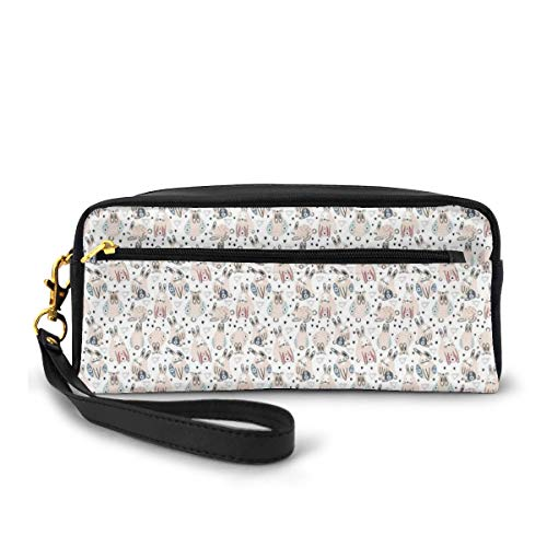 Pencil Case Pen Bag Pouch Stationary,Childish Cute Baby Rabbits with Flowers and Hearts Spring Bunnies,Small Makeup Bag Coin Purse