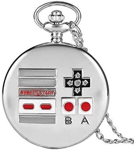 Reloj colgante, collar de la creatividad clásico Gamepad tema de cuarzo reloj de bolsillo de plata retro del reloj for los hombres mujeres niños envío de la gota de bolsillo (color: A) Jialele
