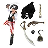 Hauntlook Deluxe Caribbean Pirate Costume & Accessory Kit - Includes 6 Props & Outfit (Youth Large) Black