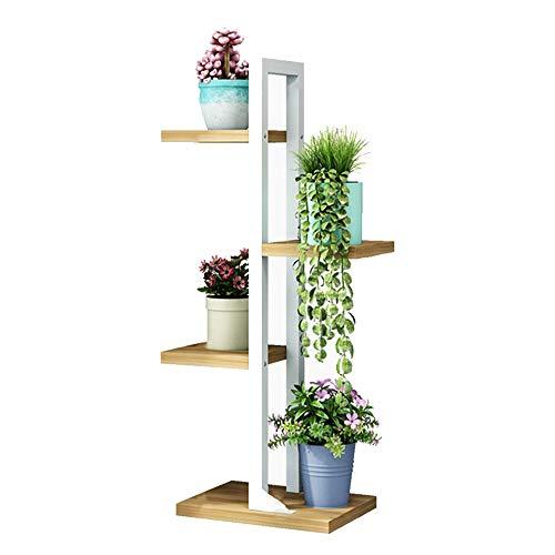 ZXMEI- Support pour plante , MDF/Acier Support de pot de fleur Flower 4 niveaux Salon avec balcon d'angle Support décoratif size taille 2 (Color : White)