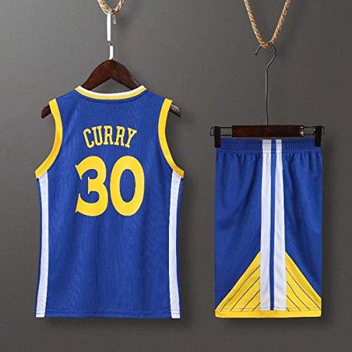 HS-XP Niños Boys Girls Hombres Adultos NBA Golden State Warriors # 30 Stephen Curry Basketball Jerseys Trajes De Verano Top + Corto, 100% Poliéster, No Fading,Azul,3XL(Adult) 175~180CM