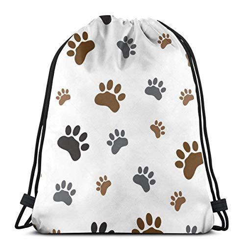asdew987 Mochila de cordón con diseño de huella de perro para mujer, ligera, mochila de almacenamiento