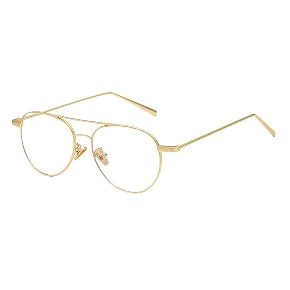 Fosheng Anti Blue Light Aviator Glasses - Phones Game TV Eyewear for Anti Eye Strain UV Goggle Retro Metal Frame Men Women Eyeglasses (Matte Gold)