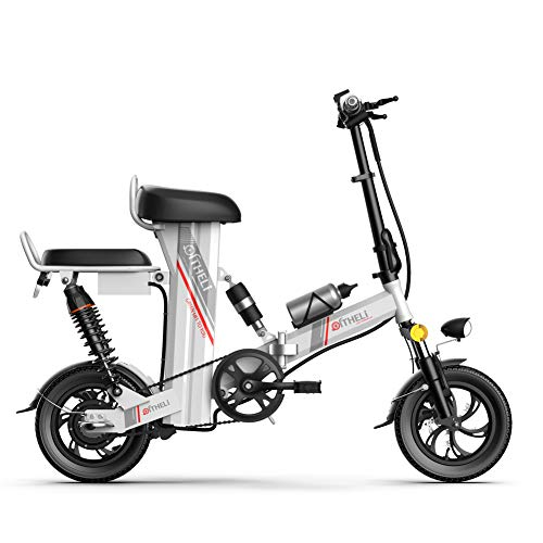 LOVE-HOME Elektrorad Klapprad, 3 Zyklusmodi Tandem Fahrräder Roller, Bewegliche Leicht Faltbares Adult E-Bike Mit Lithium-Batterie,Weiß