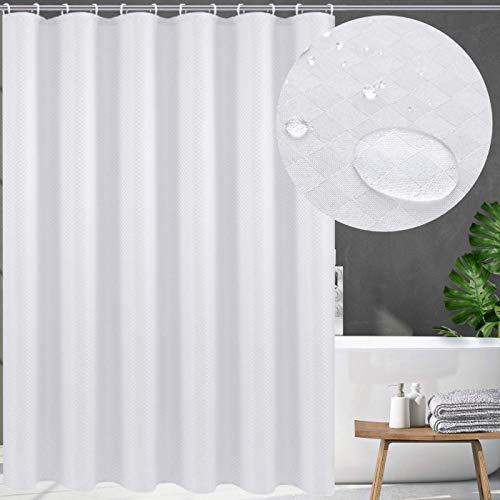 Swanson Duschvorhang mit Duschringen. Antischimmel. Modern. Edel. 120/150/180/200 x 200 cm (Weiß, 120 x 200 cm)