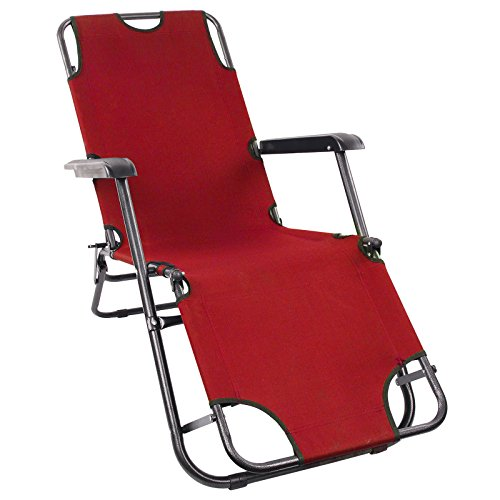 Hampton & Stewart Reclining Folding Beach Garden Patio Sun Lounger Chair Patio Furniture 5colours (Red)