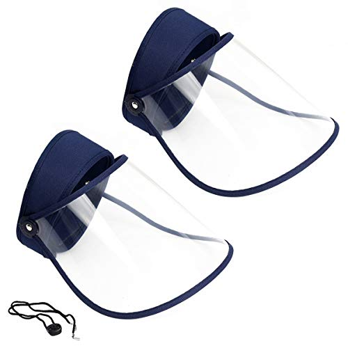2 Pack Sun Hat with Transparent Sheild Mask, Anti-Saliva Splatter, Dust, Oil, Smoke Protective Hat, Reusable Breathable Visor Windproof Dustproof Hat for Adults (2 pcs Navy)