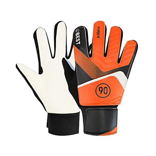 Gant de Foot Gardien Enfant, Gants de Gardien De But pour Junior Football Protection des Doigts et des Poignées Entraînement Match Taille 6 Orange