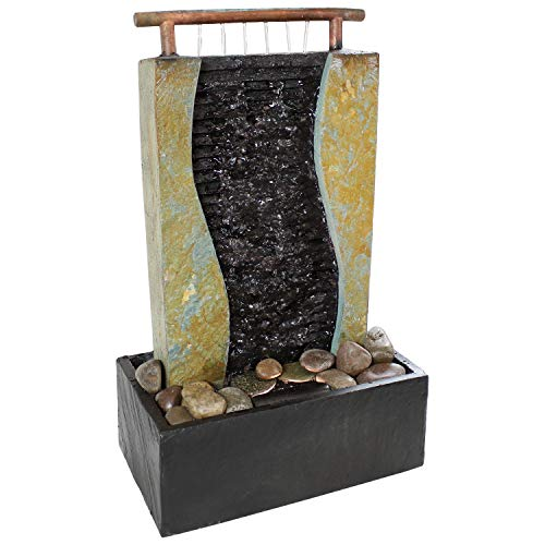 Sunnydaze Bending Slate Tabletop Fountain with LED Light, 17 Inch