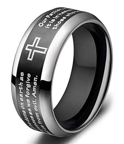 SOMEN TUNGSTEN Men's Titanium Ring 8mm Black Lords Prayer Ring with Christian Scripture Cross Praying Size 11