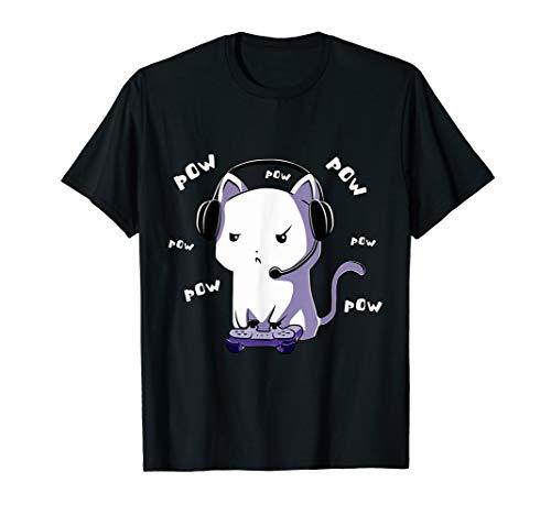 Gamer Gaming Katze Pow Pow Video Game Spiele Computer PC T-Shirt