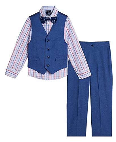 Tommy Hilfiger Boys' 4-Piece Formal Suit Vest Set, Mazarine Blue, 6