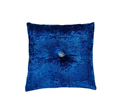 GonZalo GraCia. Small Large Soft Crushed Velvet Diamond Filled Sofa Bed Cushions Trendy Colours (Royal Blue, 17