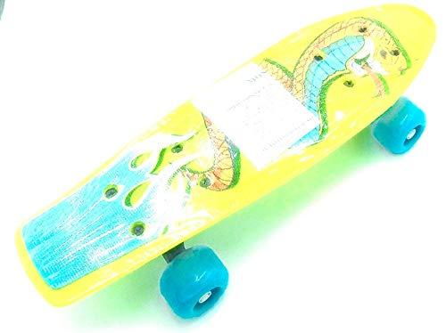 Mini Gelb / Grün Skateboard mit Schlangenbild, Maximalgewicht 70kg.