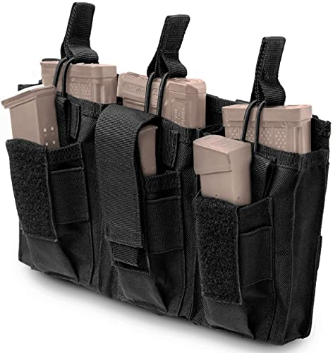 Molle Mag Pouch for Rifle & Pistol Ammo, Super Durable, Lightweight and Secure. Triple Stacker Magazine Pouch for High Speed Use