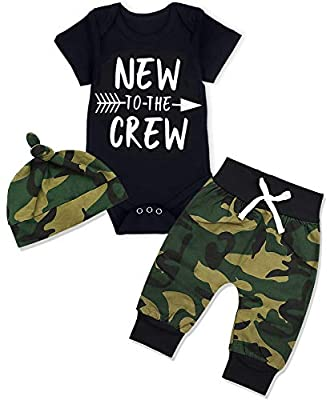 Newborn Baby Boy Clothes New to The Crew Letter Print Short Sleeve Romper+Camouflage Pants+Hat 3PCS Outfits Set 0-3 Months