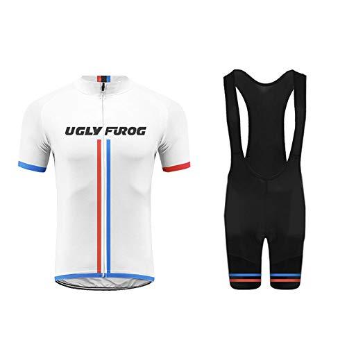 Uglyfrog MTB Ciclismo Maillot Hombres Jersey + Pantalones Cortos Culote Mangas Cortas de Ciclismo Conjunto de Ropa Maillot Transpirable para Deportes al Aire Libre Ciclo Bicicleta FAXMIX-201905