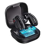 【運動型 耳掛け式 Bluetooth イヤホン】ワイヤレスイヤホン 5.0 完全 ワイヤレス イヤホン Hi-Fi ヘッドセット 3Dステレオサウンド DSPノイズキャンセリング マイク内蔵 自動ON/OFF 自動ペアリング ハンズフリー両耳通話 IPX7防水 bluetoothイヤホン側音量調節可能 片耳&両耳とも対応 LED電池残量提示 大容量充電式ケース Siri対応&リダイヤル機能 日本語説明書付き
