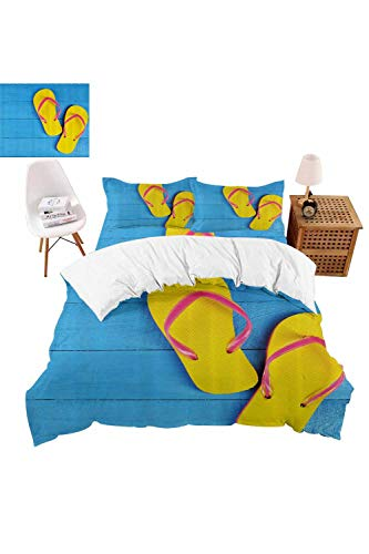 vroselv-home Kids Bedding Duvet Cover Set, Flip Flops Pier 4-Piece Suit Twin Size,Bed Sheets Set,Soft,Comfortable,Breathable - Queen Size/NO Comforter