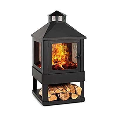 Blumfeldt Macondo Fireplace Garden Fireplace - Outdoor Fireplace, Rustic Look, Decorative Fireplace, Fire Bowl: 35 x 35 cm, Wood Tray, FireView, Solid & Sturdy Construction Made of Steel - Anthracite from Blumfeldt